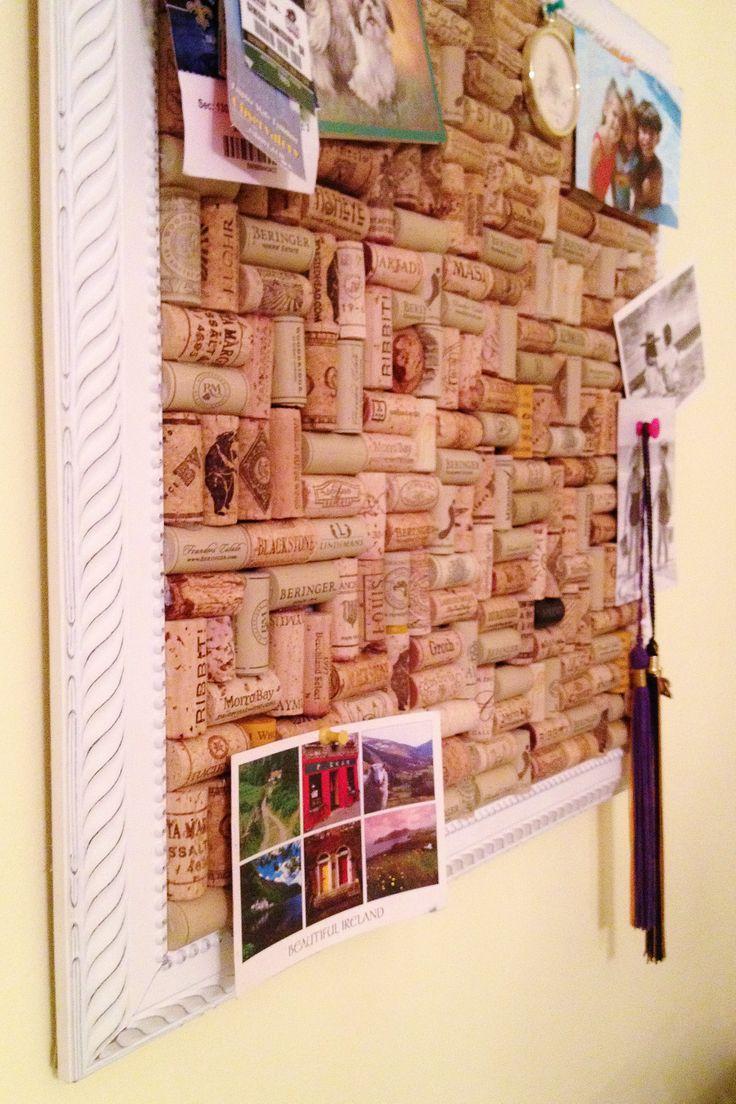 photo wall pinboard wine cork