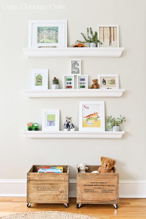 photo wal white shelves