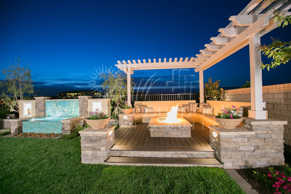 rooftop fireplace garden setting